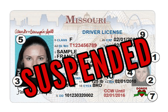 Missouri Drivers License Suspended
